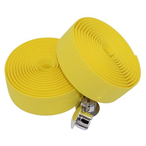 KINGOU EVA Yellow Road Bike Handlebar Tape Bar Wraps with Bar Plugs - 2PCS Per Set ()