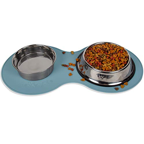 Dog Food Mat – Pet Feeding Mats for Floors – Waterproof Silicone Placemat for Water Bowl, Dish and Tray