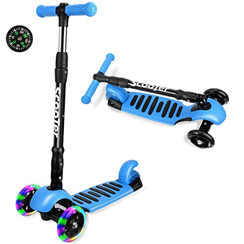 ICODE Scooter for Kids Premium 3 Wheel Kick Scooter for Toddlers (2-10 Year) with Adjustable Height,Led Flashing Wheels,Compass
