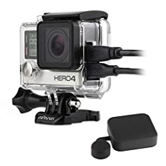 Skeleton Housing Case for GoPro Hero 3/3+/4: This skeleton housing case is made of high quality plastic with exquisite workmanship.It comes with lcd touch backdoor and a lens cap for standard housing.Compatibility: For GoPro Hero 4 Black / He...