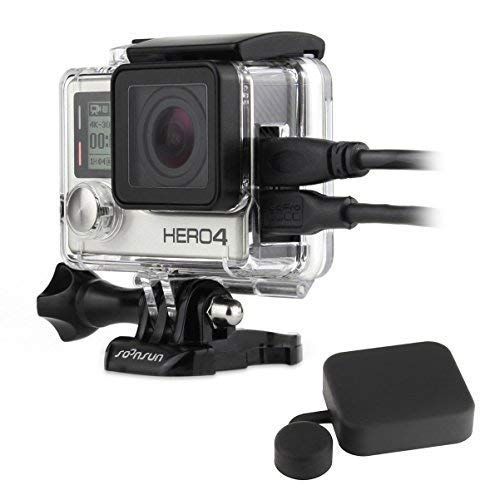 SOONSUN Side Open Protective Skeleton Housing Case with LCD Touch Backdoor for GoPro Hero 4, Hero 3+, Hero 3 Camera - Transparent Clear