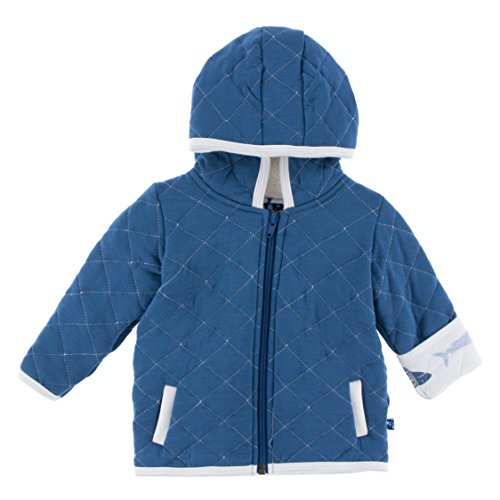 KicKee Pants Little Boys Quilted Hoodie Jacket with Sherpa-Lined Hood - Twilight with Natural Megalodon, 4T