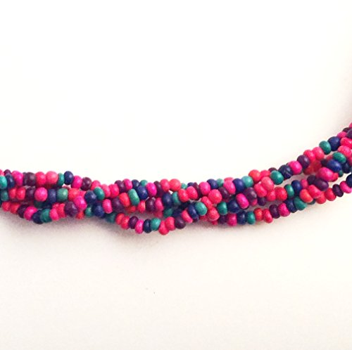 Imagine If...Beads Wood 3-4mm Loose Beads for Jewelry Making (3-4mm, Red, Purple, Green)
