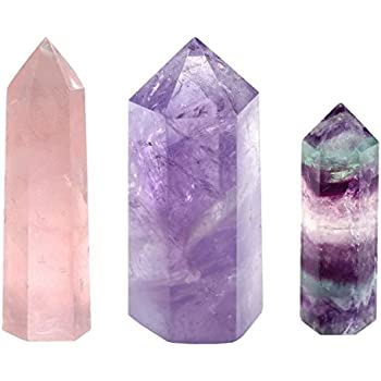 JOVIVI Set of 3 Self Standing 6 Facet Natural Polished Tumbled Single Point Amethyst/Fluorite Rose Quartz Crystal Point Wand
