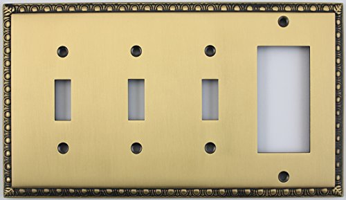 Egg & Dart Antique Brass 4 Gang Combo Switch Plate - 3 Toggle Light Switches 1 GFI Outlet/Rocker Switch