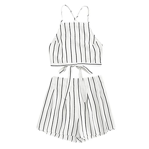 Ruched Cami Set - iTLOTL Women's Floral Applique Bandage Strap Crop Cami Top with Shorts Set(US:6/CN:L,White)