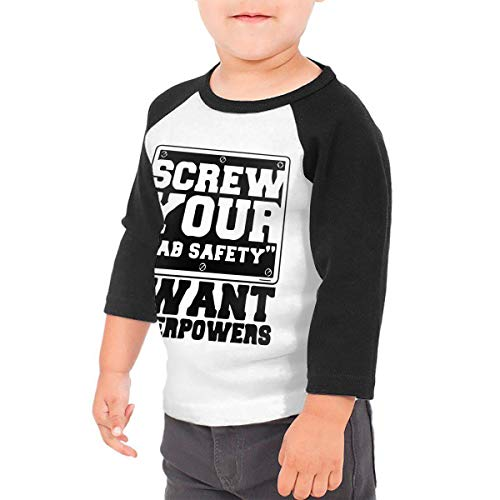 Price comparison product image Pautabely Toddler Screw Lab Safety I Want Superpowers Humor 3 / 4 Sleeve Raglan T Shirt Boys & Girls Black 5 / 6T