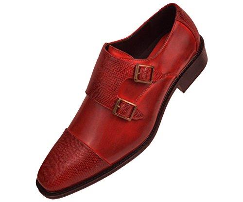 Bolano Menns Rød Glatt Dobbelt Munk Stropp Kjole Sko Med Preget Stropp Og Cap Toe: Style Bancroft-005