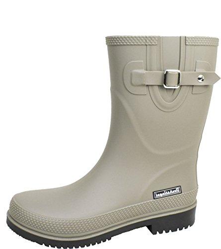 BOCKSTIEGEL® JETTE - Standard/K/KB Botas de goma cortos para Mujer | Hebilla del lado de moda | Logotipo de la marca | Producción europea | Acogedor K grey / black