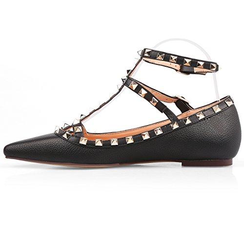 Chris-t Mujeres Flats Rivets Pearl Tachonado T-strap Tobillo Hebilla Zapatos Negro Matt