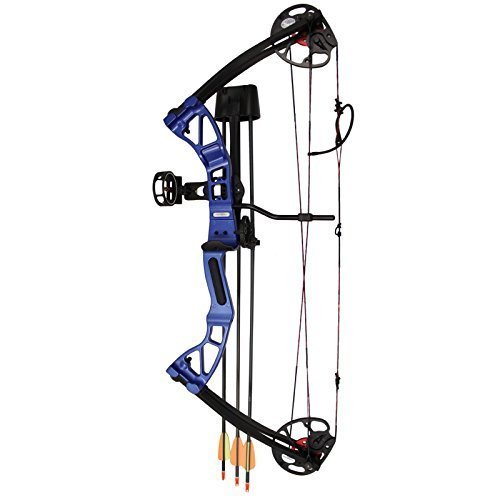 Quiver Rest - SAS 25-55 Lb 20-29'' Adjustable Quad Limb Compound Bow Package With 3-pin Sight, Arrow Rest, Quiver and Arrows (Blue)