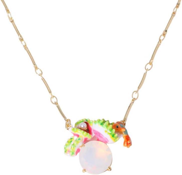 ChuangYing Personalidad Creativa con Peces pequeños de Piedras Preciosas Perlas Collar Esmalte Corta Cadena de clavícula