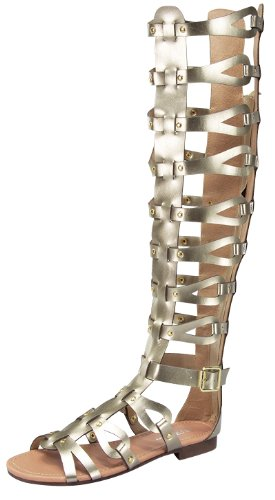 Knee Flat Sandals Atta Strappy High Womens 17 Gladiator Caged Gold P66qEZwA