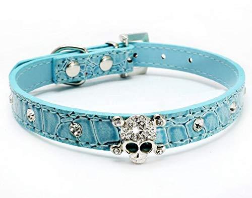 haoyueer Cute Dazzling Sparkling Elegant Fancy Skull Diamond Crystal Rhinestone Leather Small Pet Dog Cat Collar Puppy(Blue,L)