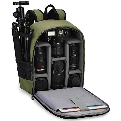 CADeN Camera Backpack Bag Professional for DSLR/SLR Mirrorless Camera Waterproof, Camera Case Compatible for Sony Canon Nikon Camera and Lens Tripod Accessories Green