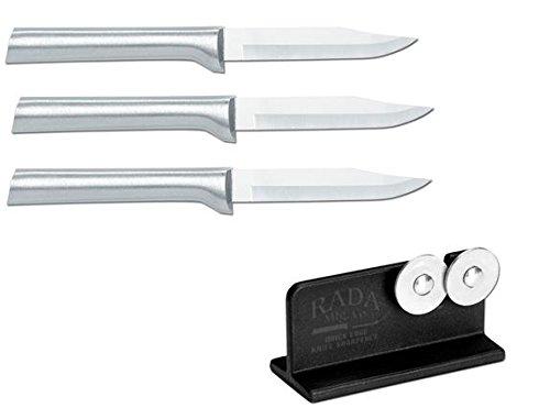 Rada Cutlery 3 Pack Paring Knife Plus R119 Knife Sharpener by Rada Cutlery