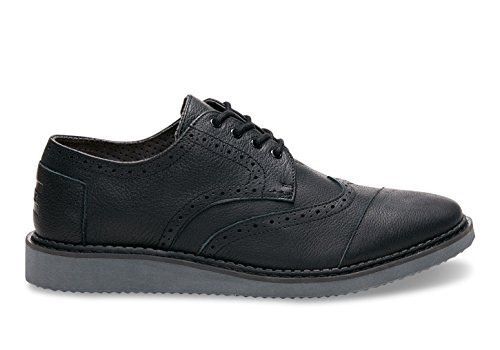 Black Brogue (TOMS Men's Brogue Black Full Grain Leather 2 Oxford 9 D)