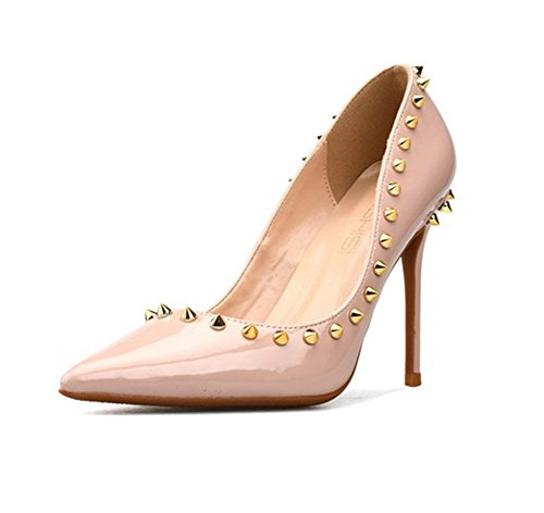 Alto 45 Clasico 35 Fiesta De Zapatos Cerrado Talla Cm Mujer Punta Rojo  Nudecolor 10 Zpl ... 6eb23d464bbd1
