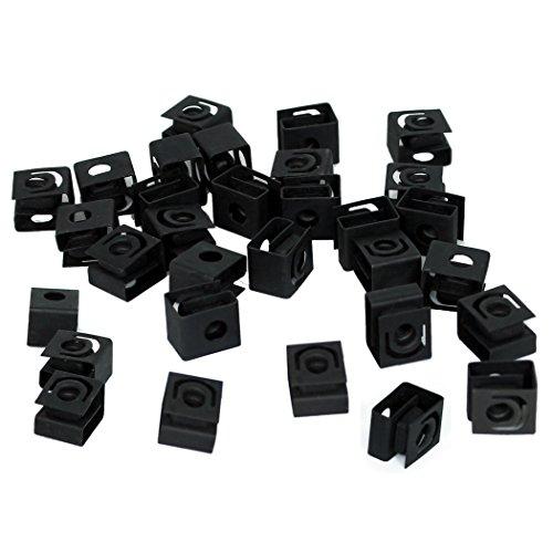 TCH Hardware 100 Pack Black Steel Cage Nuts 10-32 UNF - Network Server AV Rack Mount Shelves Cabinet Rail Caged Captive Clip
