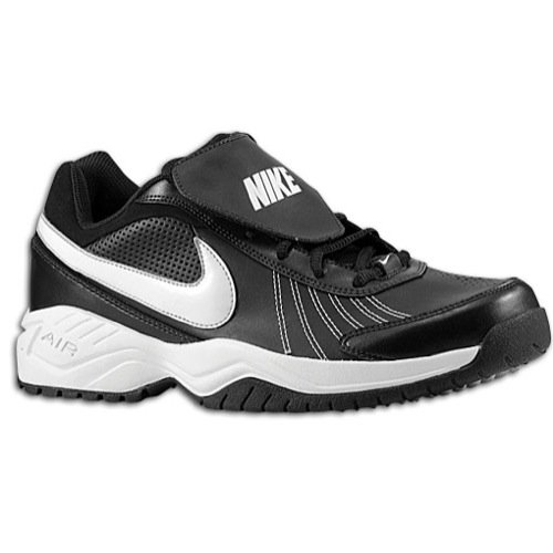 Nike Mens Air Diamond Trainer Black/White/Metallic/Silver Baseball Cleat 9 Men US