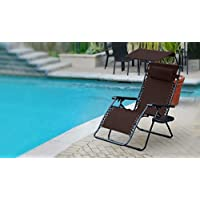 Jeco GCOL16 Oversized Olefin Zero Gravity Chair with Sunshade and Drink Tray, Mocha