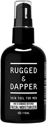 RUGGED & DAPPER - Face Moisturizer for Men - 4oz - Daily Anti-Aging Facial Cream & Aftershave Lotion with Shea - Organic & Natural Ingredients - Damage Defense for Oily, Dry & Acne-Prone Skin