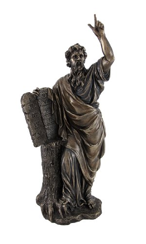 Veronese Bronzed Moses with Ten Commandments Tablets Statue ()