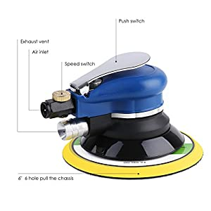 "FIXKIT 6"" Air Random Orbital Sander, Dual Action sander, Pneumatic Orbit Polisher Grinding Sanding Tools with Sanding Discs Pad (Air Compressor Needed)"