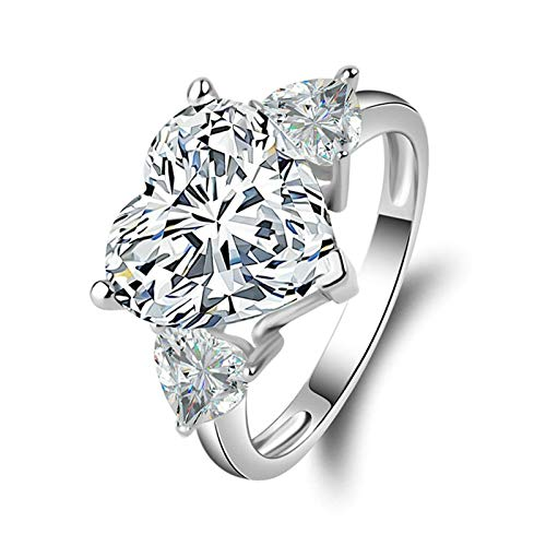 (Aooaz Jewelry Wedding Ring Silver Material Heart Silver Ring for Women Engagement Rings US Size 5)