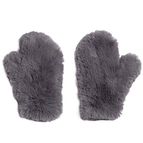 Glamourpuss NYC Knitted Faux Fur Mitten Pewter