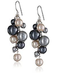 Colored Simulated Pearl Cluster Drop Earrings
