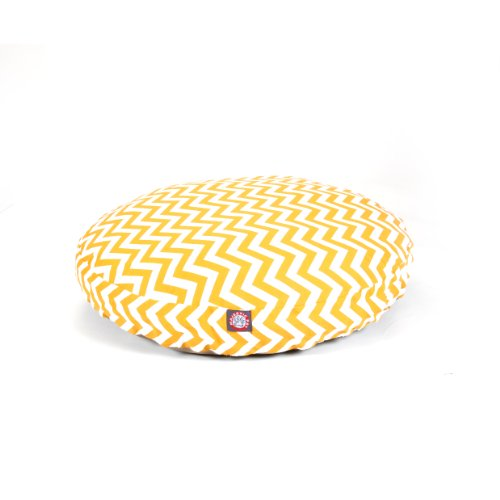picture of Majestic Pet Yellow Chevron Round Pet Bed, Medium