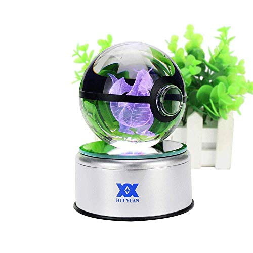 3D Crystal Ball Fancy LED Lighting and Spinning Primary Base Advance 3D Laser Engraving Valentine Children's Gift (Dragonite)