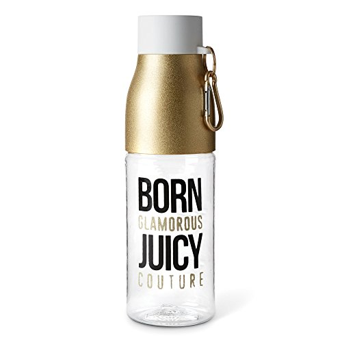 Cute Functional 750ML Juicy Couture Plastic Water Bottle with Hook - Born Glamorous, Juicy Couture (Functional Hook)