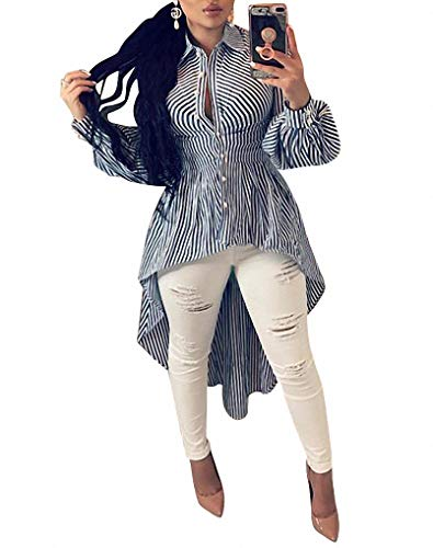 Ophestin Women Stripe Print Long Sleeve Bodycon High Low Asymmetrical Button Down Shirt Blouse Top Blue XXL ()