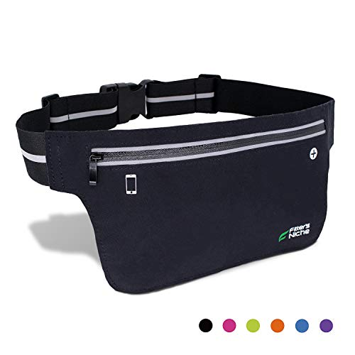 (fitter's niche UltraSlim Fitness Sport Running Belt Fanny Pack, Water Resistant, 360 Degree 3M Reflective Adjustable Waistband, for Smartphone Android iPhone up to 6 inches, Infinite)