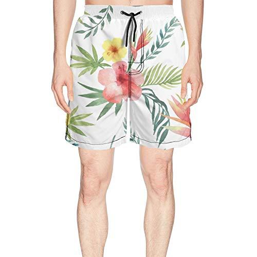 LKIMNJ Men Print Boardshorts Painting Flowers Green Summer Quick Dry Breathable Pockets Mesh (Board Flowers Painting)