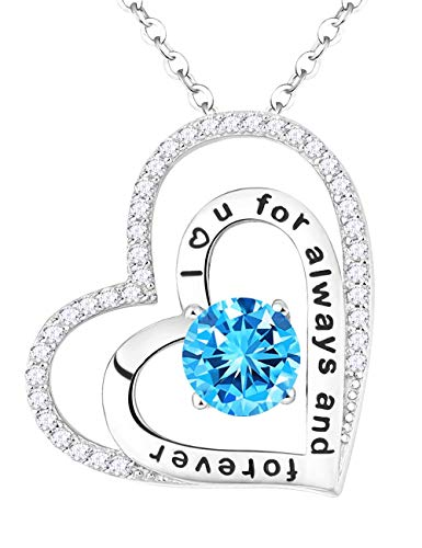 (Fine Jewelry Gift for Her March Birthstone Aquamarine Necklace Double Love Hearts Engraved Pendant Fine Jewelry Sterling Silver 18