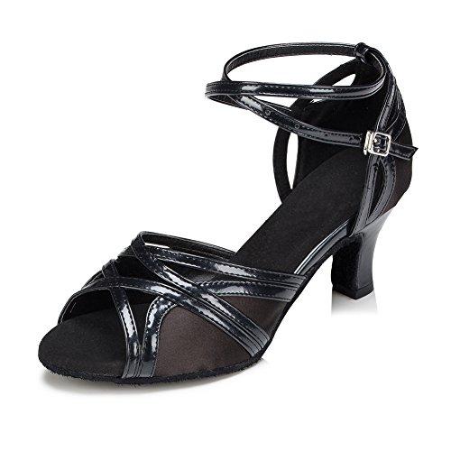 Misu Womens Peep Toe Sandals Latin Salsa Tango Practice Ballroom Dance Shoes With 2.3 Heel jiCybW1L2