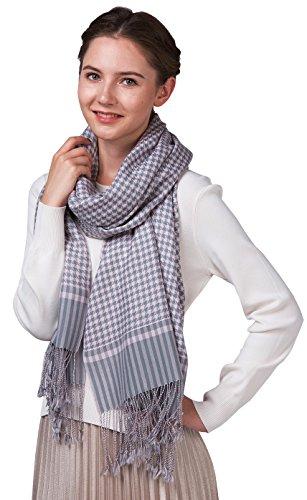 Ellettee, HeatherSilver 100% Wool Women or Men Scarf Classic Shawl Premium Wraps Luxurious fringed Long Neckwear Houndstooth Elegant Wool Scarves ()