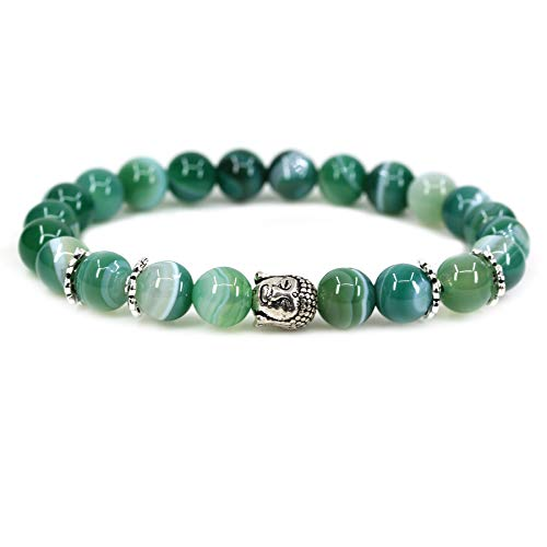 Natural Green Banded Agate with 925 Sterling Silver Buddha Head Gemstone 8mm Round Beads Stretch Bracelet 7