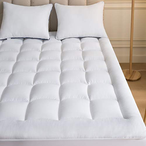(Mattress Topper Twin 39x75 Inches Quilted Plush Down Alternative Pillow Top Fitted Skirt Protector Mattress Pad Reviver Enhancer Deep Pocket Fits 8-21 Inches Soft White Bed Cover)