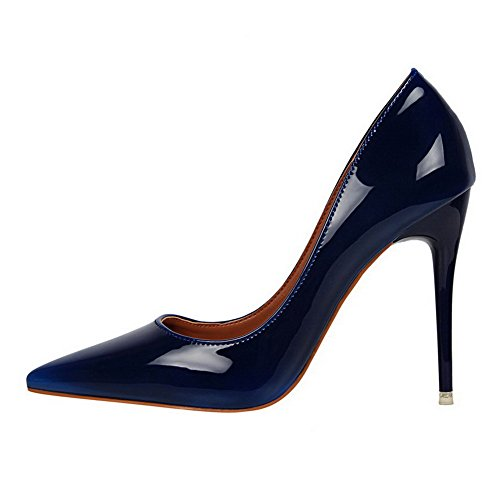 AalarDom Womens Soft Material Solid Spikes Stilettos Pointed-Toe Pumps-Shoes Blue-patent Leather HJhPhn