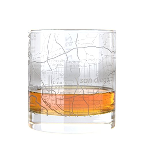 Uncommon Green San Diego Map Rocks Etched Whiskey Glass