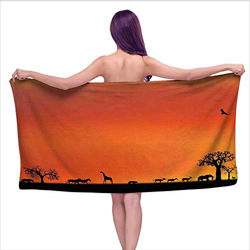 Africa Highly Absorbent Hotel Quality Towels Set Panorama of Safari Animals Gulls Reflections in Background at Sunset Scenery Cotton Hand Towels Set W 20