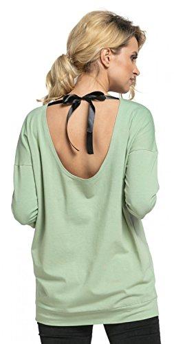 Happy Mama. Womens Maternity Nursing Top Ribbon Back Tie Breastfeeding.524p (Sage, US 8/10, L)