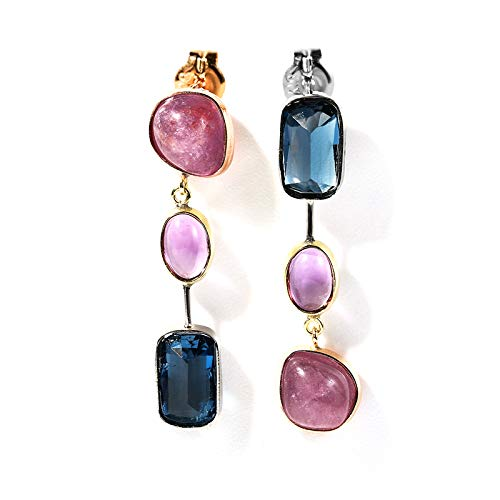 Unique 18-karat gold colored gem stud earrings with gold stud thread and long earrings are sweet birthday gift present stud earrings for women