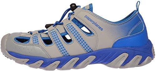 de Paperplanes cerrada de grisáceo azul con seguimiento Sandalias cuero azul 1326 unisex color punta y xp4pqXT