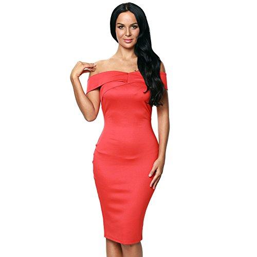 LikeYOU Womens Off Shoulder Slim Fit Midi Dress S (Fish Net Arm Sleeves)