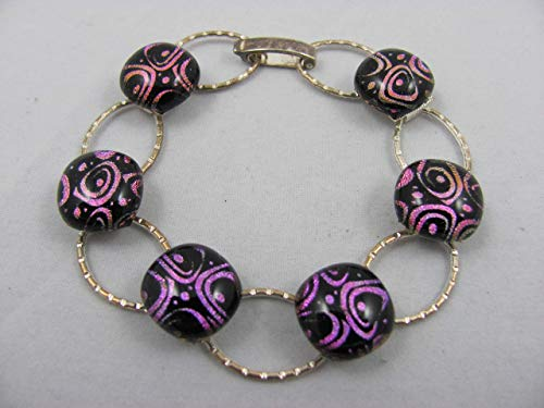 - Bracelet - Silver plated with 6 dichroic fused glass stones in fuchsia, pink, lavender & purple tones